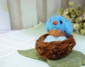 Needle felted bluebird with eggs in nest hand made wool toy collectible miniature