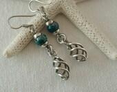 Vintage Mexican Sterling Silver Jasper Free Form Swirl Dangle Pierced Earrings  .....5176