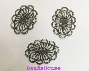20%off - 36pcs  (18 x 25mm) Oval Antique Bronze Plated  Filigree Stamping ,Nickel Free
