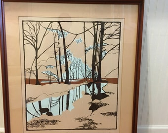 LITHO MID CENTURY Winter Browns and Beige Signed and Titled Reflections at Modern Logic