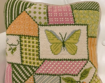 VINTAGE NEEDLEPOINT PILLOW 1970s Buterflies Yellow, Green, Pink, Crewel Pillow Butterfly Mid Century Crushed Velvet Backing at Modern Logic