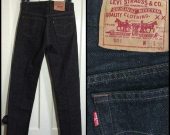 Vintage Levi's Black 501 31X32 Straight Leg denim Jeans made in USA Boyfriend jeans #1237
