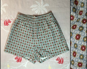 1950's Surfer Swimsuit Boxer Short Shorts Swim Trunks size 38 Large drawstring beach beatnik patterned
