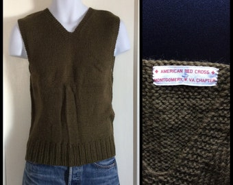 Vintage 1940's WWII American Red Cross wool Sweater Vest size Small Army Green Montgomery W. VA Chapter A.R.C. arc