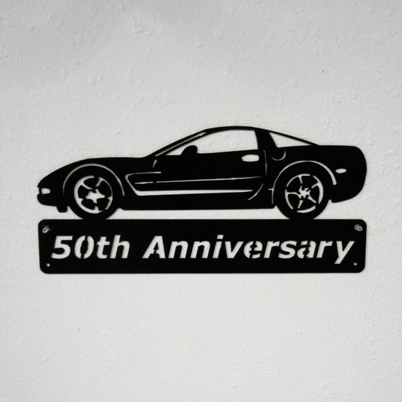 2003 Chevrolet Corvette - Metal Car Sign - Man Cave Sign - 50th Anniversary - Metal Wall Art - Garage Sign - Satin Black - Man Cave- Car Art