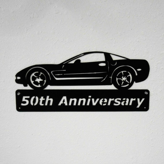 Metal Car Sign - 2003 Chevrolet Corvette - Man Cave Sign - 50th Anniversary - Metal Wall Art - Garage Sign - Satin Black - Man Cave- Car Art