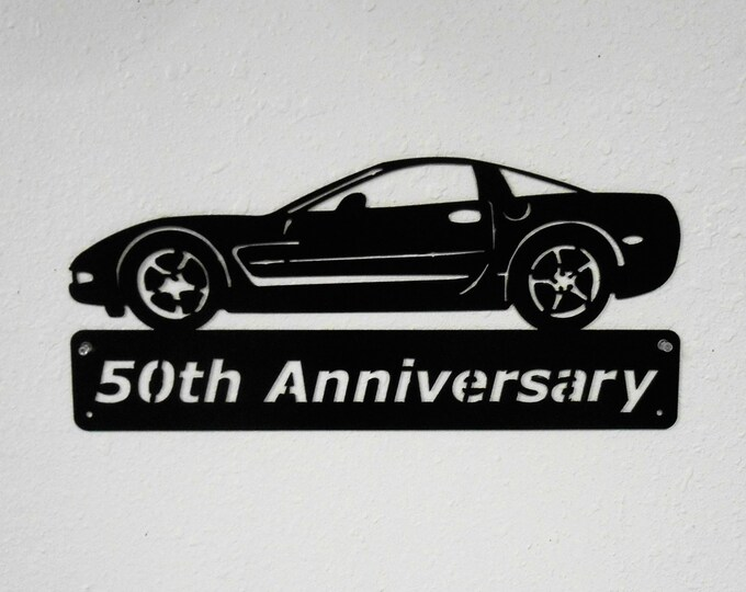 2003 Chevrolet Corvette - Metal Car Sign - Man Cave Sign - 50th Anniversary - Metal Wall Art - Garage Sign - Satin Black - Man Cave- Car Art
