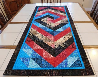 Modern Quilted Batik Table runner Wall Hanging Black Blue Red Cream