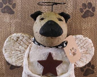 Pug Angel, OOAK, hand-sculpted papier mache, Pug Angel Figurine