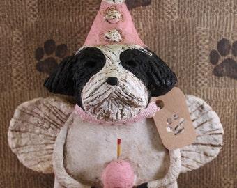Shih Tzu Birthday Angel, OOAK, hand-sculpted from papier mache,Shih Tzu Birthday