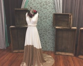 Bella Luna~ Matte Gold Sequin Octopus Infinity Wrap Dress WITH Train ~Vintage, 1920s Gatsby Wedding, Bridesmaids Dress