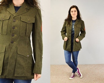 Military Jacket World War 2 Army Green vintage WWII Military Uniform wool fitted indie hipster 90s grunge small medium womens  mens unisex