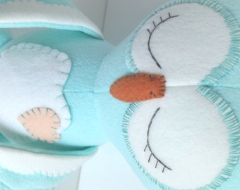 Owl - Stuffed Toy - Toys - Plush Toys - Ragdoll - Stuffed Animal - Plushie - Barn Owl - Light Turquoise - Turquoise - Winter White