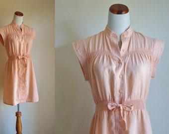 Vintage Jonathan Logan Dress, Peach Button Down Dress, Sleeveless Summer Dress, 70s Dress, Cap Sleeve Dress, Gauze Drss, Medium AS IS