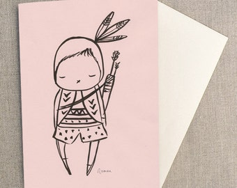 "Greeting Card - Pink Indian Warrior Bunny Card,   C6 greeting card 11w x 15.5 h cm (4.4x6.1"")."