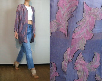 80s Sheer Lilac GAUZE FEATHER Print Cardigan Vintage Lavender Feather Jacket Gold Feather Print Jacket Purple Kimono Jacket Sheer Cardigan