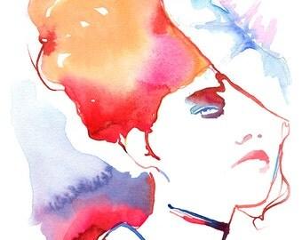 Fashion Print, Fashion Watercolor, fashion wall art, Watercolour Fashion, Cate Parr, Watercolor Illustration,