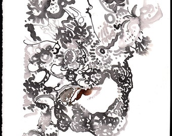 Original Painting, lace mask illustration, black lace mask, girl in mask art, masquerade wall art, masquerade mask, small fashion abstract