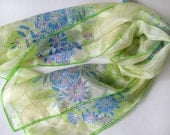 Pastel green, blue and yellow lace hand painted silk scarf - long silk scarf