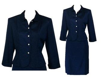 M/8/Petite Vintage 1950's Blue Skirt Suit, Polished Rayon Jacket Skirt Separates Suit Medium, Petite