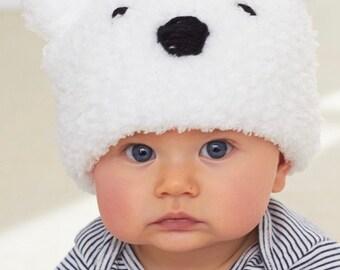 Knitting Pattern Baby Polar Bear Hat Instant Download PDF Pattern Easy Pattern Knit Animal Hat