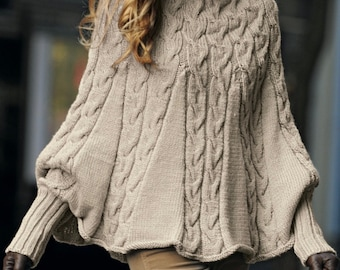 Knitting Pattern Cozy  Poncho Instant Download Knitting Poncho Pattern  Knitted Stylish Poncho Modern Look