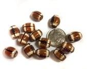 20 football Beads - Small (11x9mm) - ceramic, peruvian, large hole, sports