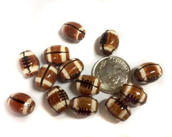 10 football Beads - Small (11x9mm) - ceramic, peruvian, large hole, sports