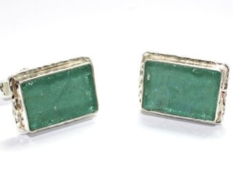 Ancient  Hand Made Work One Of A Kind Roman Glass 925 Sterling Silver Cufflinks