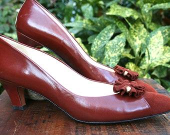 Vintage Evan Picone Brown Leather Heels  Women Shoe 7.5 SS