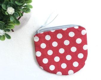 Vintage Feel White Polka Dots on Red, Small purse, Zipper Coin purse, Cute Mini zipper Coin pouch