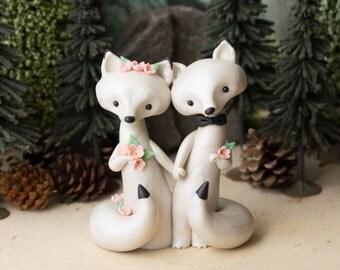 Arctic Fox Wedding - White Wedding Cake Topper - Winter Wedding by Bonjour Poupette
