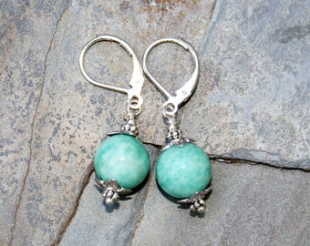 Aqua Earrings, Amazonite Earrings, Aqua Blue Earrings, Natural Stone Earrings, Handmade Earrings, Spring Earrings, Summer Earrings