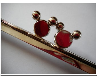 17cm (61/2 inch) silver mickey beads glue purse frame
