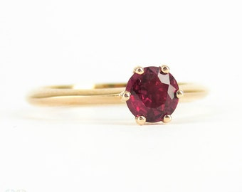 Ruby Engagement Ring, 18 Carat Rose Gold Setting with 0.41 Carat Solitaire Brilliantly Red Ruby Gemstone Engagement Ring.