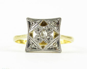 Art Deco Diamond Ring, Square Shape Panel Ring With Rose Cut Diamonds & Flower Design. Circa 1920s, 18ct and Platinum.