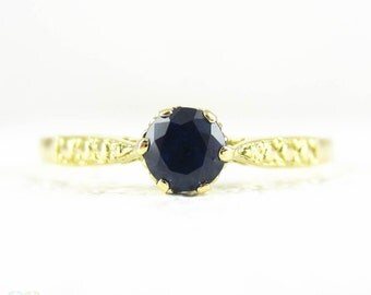 Sapphire Engagement Ring, Bright Blue Round Cut 0.32 Carat Sapphire in 18 Carat Yellow Gold Vintage Style Setting.