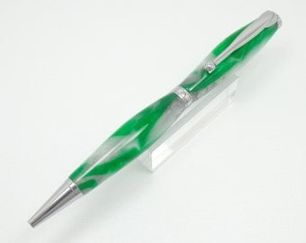 Handmade Acrylic Pen - This Is A Writing Pen Made With A Shamrock Acrylic And Chrome Plated Fittings