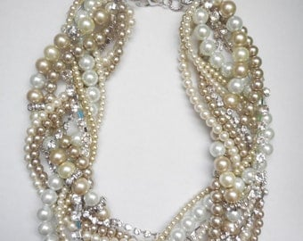 Ivory champagne white pearl twisted chunky statement necklace rhinestone bridesmaid bridal custom order