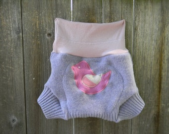 Upcycled Wool Soaker Cover Diaper Cover With Added Doubler Lavender With Birdy Applique LARGE 12-24M Kidsgogreen