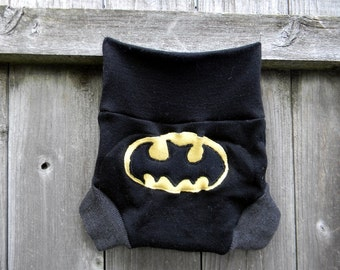 Upcycled Merino Wool Soaker Cover Diaper Cover With Added Doubler Black / Gray With Batman Applique LARGE 12-24M Kidsgogreen