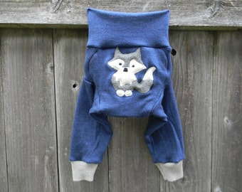 MEDIUM Upcycled Merino Wool Longies Soaker Cover Diaper Cover With Added Doubler Blue/ Gray With Wolf Applique MEDIUM 6-12M