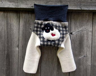 SMALL Upcycled Merino Wool/Cashmere Longies Soaker Cover Diaper Cover With Added Doubler Black/Oatmeal/ White With Sheep Applique 3-6M