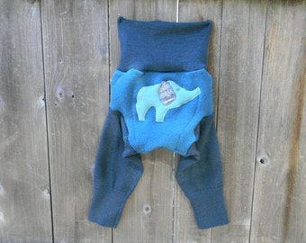 MEDIUM Upcycled Wool  Longies Soaker Cover Diaper Cover With Added Doubler Two Tone Teal With Elephant Applique MEDIUM 6-12M Kidsgogreen