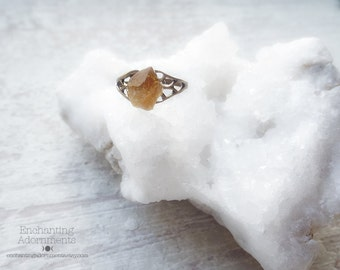The Mystic Witch -- Genuine Citrine Crystal and Aged Brass adjustable ring