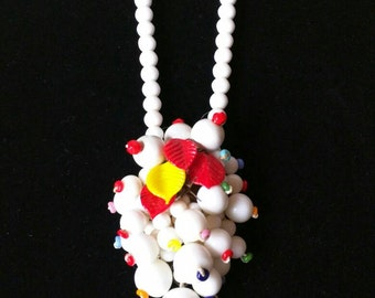 Sale...Reduced Vintage / Antique Czech milk glass / fruit salad / 1930's-40's / Haskell style / Necklace / Rockabilly / pinup / VLV / Carmen