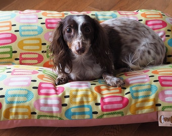 Dog Bed, Colorful Mushrooms, Pink Dog Bed, Dachshund Dog Bed, Retro and Whimsical Dog Bed