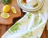 Tea Towel -  Kitchen Towels - Screen Print Tea Towel - Flour Sack Towels - Tea Towel Set - Tea Towel Flour Sack - Towels - Garden Herbs