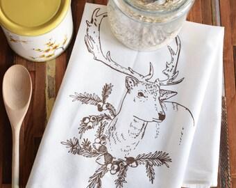 Tea Towels - Kitchen Towels - Screen Print Tea Towel - Flour Sack Towel - Christmas Towels - Dish Towels - Tea Towel Flour Sack - Reindeer