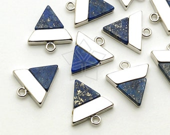PD-1400-OR / 2 Pcs - Gemstone Metal Mix Pendant, Lapis Lazuli Inverted Triangle Charm, Silver Plated over Brass / 12mm x 13mm